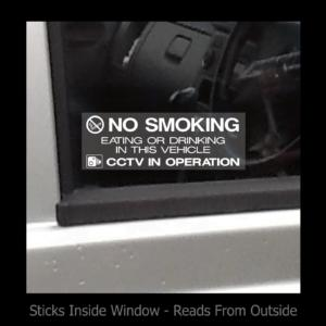 No Smoking, Eating, Drinking in Taxi – Window Sticker / Sign – Security, Safety